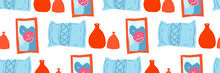 Banner, Seamless Pattern With Interior Items
