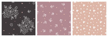 Neutral Pastel Floral Seamless Pattern For Girl's Clothing Or Fabric Print. Hand-drawn Flowers On Brown Background With Hearts, Tiny Leaves And Spot Coordinating Repeat Designs Set.