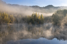 Beautiful Colored Trees With Lake In Autumn, Landscape Photography. Late Autumn And Early Winter Period. Outdoor And Nature. Amazing Foggy Morning. Lake Coast. Fog Over Autumn Lake Water.