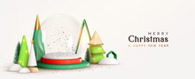 Christmas And New Year Festive Round Podium Studio Glass Snow Round Empty Ball. Realistic 3d Cone Trees. Creative Holiday Template. Xmas Winter Composition. Banner And Web Poster, Cover And Brochure