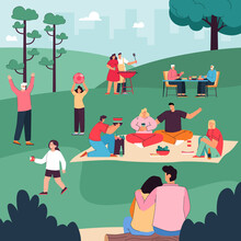 Happy People Eating, Drinking Together, Communicating Under Trees, Playing With Children. Cartoon Family Resting During Picnic In City Park Vector Illustration. Leisure Time, Outdoor Activity Concept