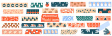 Christmas Washi Tapes. Vector Set With Snowflakes, Gingerbread, Spruce, Winter Elements. Masking Tape Or  Adhesive Strips For Frames, Scrapbooking, Borders, Web Graphics, Crafts, Stickers.