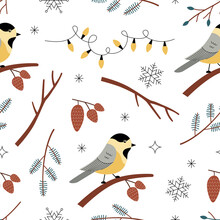 Seamless Pattern With Titmouse Bird, Branches, Snowflake, Cone And Garland On A White Background. Botanical Winter Vector Illustration In Aestethic Hand Drawn Style. Perfect For Wrapping Paper, Wallpa