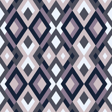 Mosaic Seamless Texture. Vector Geometric Background Of Triangles In Violet, Lilac And White Colors.