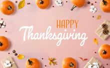 Thanksgiving Message With Autumn Pumpkins With Gift Boxes
