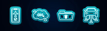 Set Line Flight Mode In The Mobile, Methane Emissions Reduction, Delete Folder And Car Sharing. Glowing Neon Icon. Vector