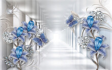 3d Wallpaper Blue Jewelry Flowers On Silver Tunnel Background For Living Home Decor