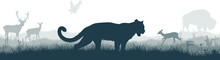 Seamless Panorama Of The Prarie With Puma Cougar (Puma Concolor) Or  Mountain Lion, Deers, Eagle And  Zubr Buffalo Bison