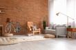 Leinwandbild Motiv Comfortable living room interior with modern bicycle