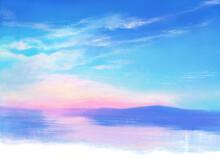 雨上がりの空と海の風景イラスト