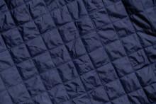 Blue Quilted Down Jacket Background, Blue Vest Quilted Background, Blue Fabric