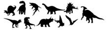 Dinosaur Silhouettes. Dinosaurs Silhouettes Set. Dinosaurs And Jurassic Dino Monsters Icons. Vector Silhouette Of Triceratops Or T-rex, Brontosaurus Or Pterodactyl And Stegosaurus, Pteranodon