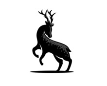 Abstract Jump Stand Deer Elk Black Silhouette Logo Template Illustration