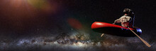 Astronaut In Rubber Boat, Surreal Space Background Banner