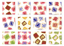 Set Of Toast Bread Sandwiches Comic Style Seamless Border Patterns. Sandwiches With Fruits And Vegetables Healthy Green Wallpapers. Breakfast Or Lunch Food Background Texture Tiles Collection