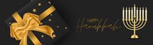 Happy Hanukkah. Traditional Jewish Holiday. Chankkah Banner Or Website Header Background Design Concept. Judaic Religion Decor With Black Luxury Gift Boxes With Golden Ribbon. Vector Illustration.