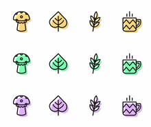 Set Line Leaf, Mushroom, And Cup Of Tea Icon. Vector