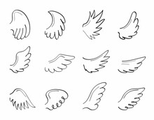 Angel Sketch Wing Set Vector. Marker Hand Drawn Style Of Holy Creations.