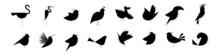 Set Of Silhouettes Of Birds. Birds Icons Set.