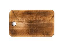 Dark Wooden Cutting Board On White Background