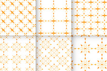 Collection Of Abstract Orange Floral Patterns