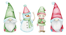 Gnomes, Elf Snowman, Watercolor Set, Heroes, For The Christmas Holiday, On An Isolated Background.