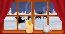 Image Of Santa Claus In Sleigh With Reindeer Seen Seen Through Window