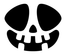 Halloween Pumpkin Face Icon. Spooky Crooked Smile.