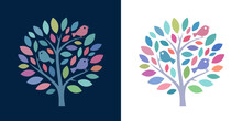 Colorful Tree Icon With Birds, Symbolising Power Of Nature, Happiness, Wholeness And Cheerfulness - Adjustable Vector Image