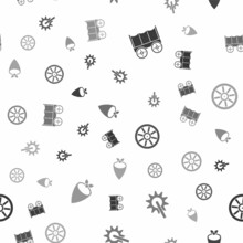 Set Wild West Covered Wagon, Spur, Old Wooden Wheel And Cowboy Bandana On Seamless Pattern. Vector