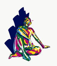 Creative Colorful Vector Image Of Man Sitting On Floor