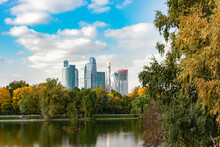 Moscow, View Of Moscow City From Novodevichy Ponds Park.