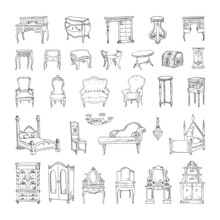 Collection Of Monochrome Illustrations Of Antique Furniture In Sketch Style. Hand Drawings In Art Ink Style. Black And White Graphics.