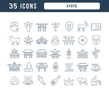 Kyoto. Collection Of Perfectly Thin Icons For Web Design, App, And The Most Modern Projects. The Kit Of Signs For Category Countries And Cities.