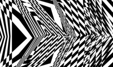 Distorted Black Patterns In Op Art Style Modern Design On White Background