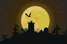 Graveyard With Zombies And Monsters With Tombstones And Crosses. Vector