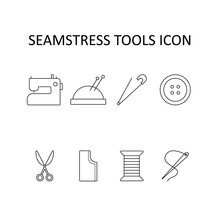 Vector Illustration With Sewing Machine; Threads;  Pincushion;  Pin;  Button; Scissors. Icon Set. Linear Drawing.