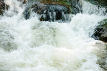 Rushing Water Of The Pike River Cascades Over Boulder S At Dave's Falls, Marinette County, Wisconsin In Late August