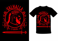 Valhalla Winter Is Coming, Viking Silhouette With Scandinavian Knots And Sword, T-shirt Print, Sticker, Postcard. Vector Illustration Isolated, Background.