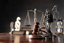 Lawyer Office. Law Symbols Composition: Judge's Gavel, Themis Sculpture, Paragraph Sign And Scale.