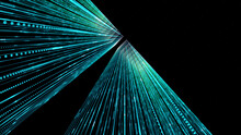 Futuristic Neon Background With Bright Rays Receding Into The Distance. Modern Abstract Design With Straight Lines