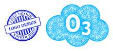 Vector Crossing Mesh Ozone Cloud Carcass, And Logo Design Blue Rosette Textured Seal Print. Crossed Carcass Net Illustration Created From Ozone Cloud Pictogram, Is Made From Crossed Lines.