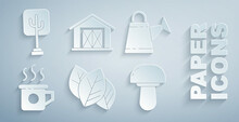 Set Leaf Or Leaves, Watering Can, Cup Of Tea, Mushroom, Farm House And Tree Icon. Vector