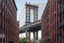 Manhattan Bridge Seen From Dumbo, Brooklyn, New York City, USA