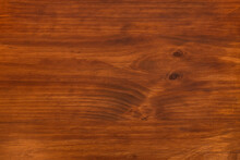 Wooden Plank Varnished In A Dark Ocher Color With Veins And Knots. Vector Wood Texture Background
