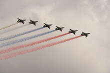 """A Group Of Su-25 """"Grach"""" Attack Aircraft Smoke The Colors Of The Russian Flag In The Sky Over Red Square During The Dress Rehearsal Of The Parade Dedicated To The 76th Anniversary Of Victory In The Gr"""