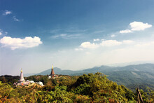 View Of The King And Queen Temples From Top Of Kew Mae Pan Mountain At Doi Inthanon National Park, Chiang Mai