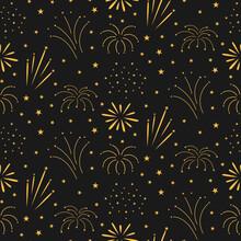 Fireworks Seamless Pattern On Night Background