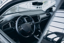 Steering Wheel Inside A New Car Close Up
