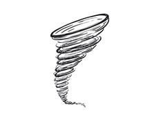Hurricane Hand Drawn Illustration, Vector.